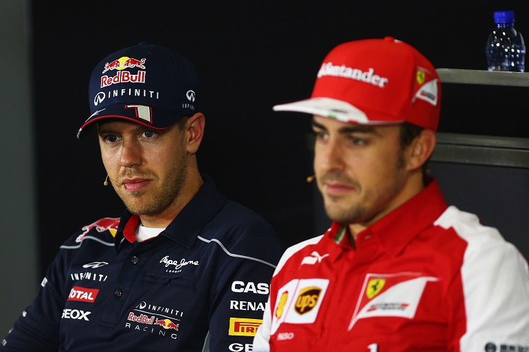 Sebastian Vettel e Fernando ALonso in conferenza stampa al Montmelò