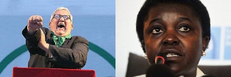 """Il """"conte"""" Mario Borghezio, deputato europeo della Lega Nord, e la ministra per l'Integrazione Cécile Kyenge"""