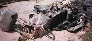 La Brabham BT55 di De Angelis dopo l'incidente
