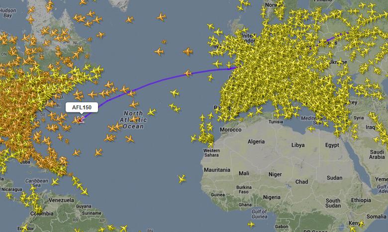 La rotta del volo Aeroflot AFL150 da Mosca a l'Avana, su cui si sospetta possa esserci Edward Snowden (mappa tracciata alle 21.33 ora di Roma)
