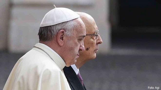 Papa Francesco e il presidente della Repubblica Giorgio Napolitano