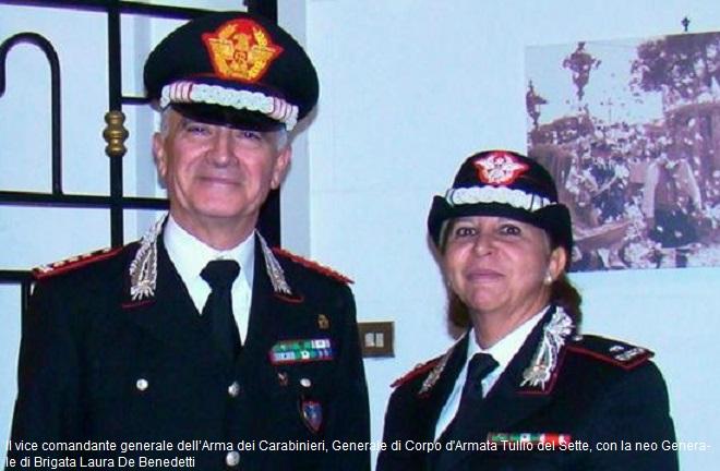 Il Generale di Corpo d'Armata Tullio del Sette, vice comandante generale dell'Arma dei Carabinieri, insieme alla Generale di Brigata LAura De Benedetti, prima generale donna d'Italia