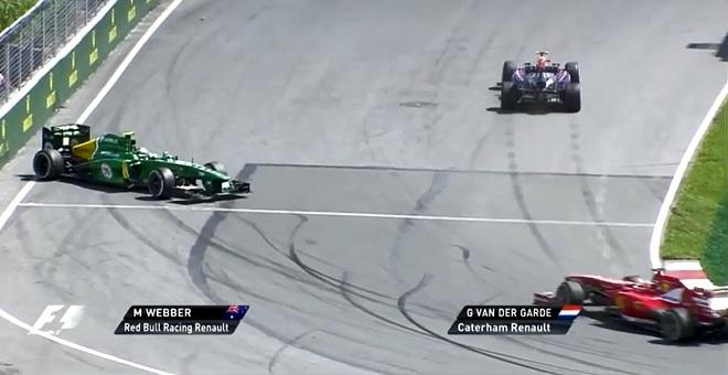 """L'uscita di Webber dal tornantino del circuito di Montreal, Canada, """"urla"""" la presenza di un traction control"""