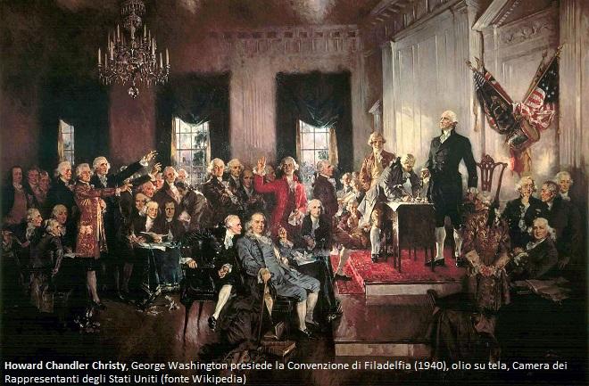 Howard Chandler Christy, George Washington presiede la Convenzione di Filadelfia (1940), olio su tela, Camera dei Rappresentanti degli Stati Uniti (fonte Wikipedia)