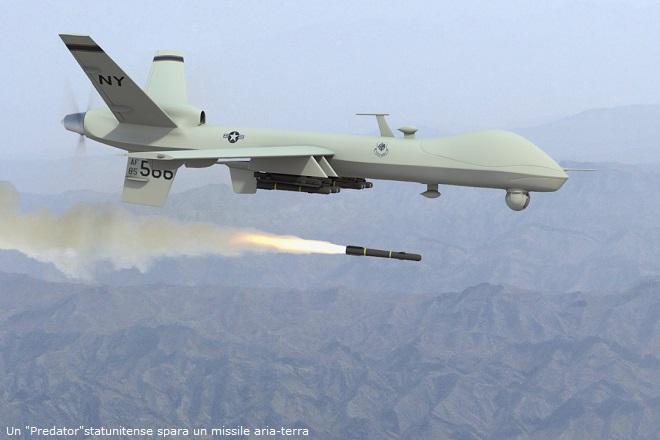 Un Predator statunitense spara un missile aria-terra