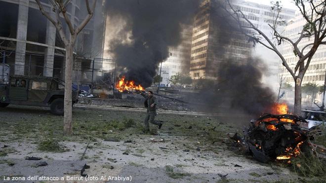 Beirut, la zona dell'attacco in cui è stato ucciso Mahammad Shatah, ex ministro delle Finanze libanese (foto Al Arabiya)