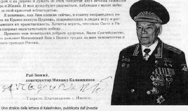 La lettera pubblicata dall'Izvestia