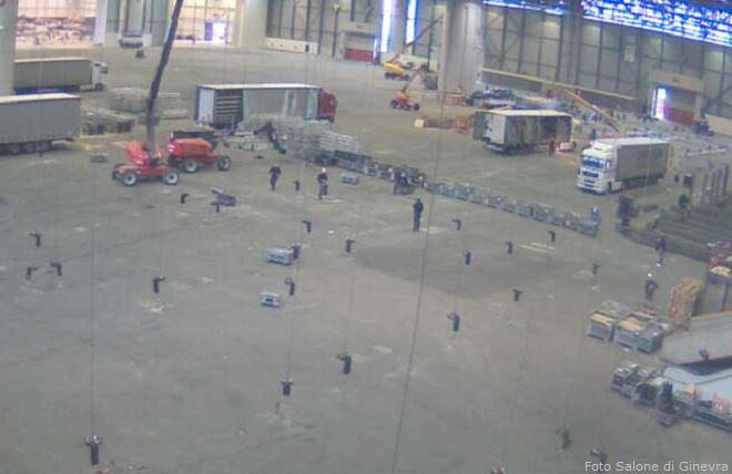 Stanno per partire i lavori di allestimento degli stands dell'84° Salone Internazionale dell'automobile di Ginevra (foto Geneva International Motor Show)