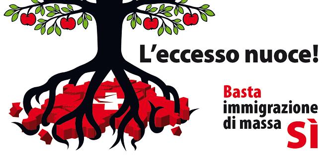Il manifesto della campagna referendaria a favore di una limitazione dell'immigrazione in Svizzera