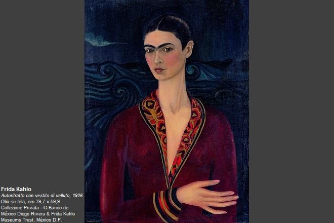 Frida Kahlo Autoritratto con vestito di velluto, 1926 Olio su tela, cm 79,7 x 59,9 Collezione Privata © Banco de México Diego Rivera & Frida Kahlo Museums Trust, México D.F.