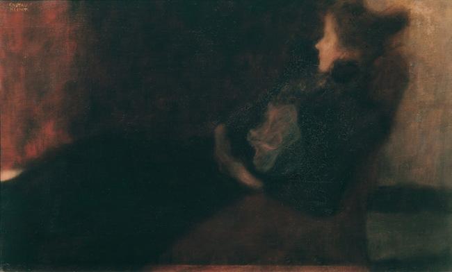 Signora davanti al caminetto, 1897/98, olio su tela, cm 41x66, Vienna. Belvedere © Belvedere, Vienna
