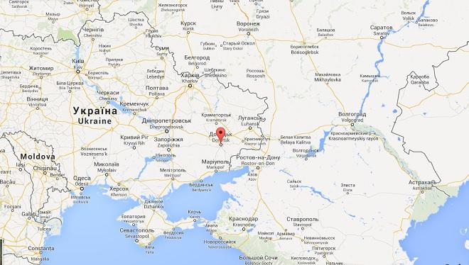 A Donetsk, nell'Ucraina orientale, cresce la tensione tra filorussi e governo di Kiev (cartina da Google Map)