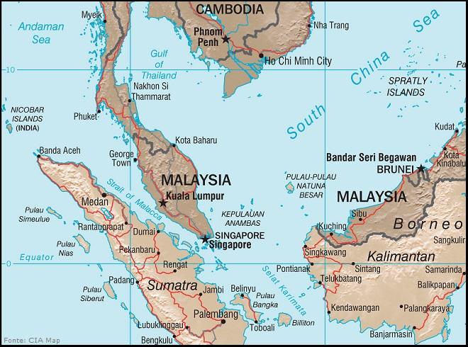 Stretto di Malacca (Malacca Strait) - Fonte: CIA Map