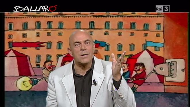 """La """"copertina"""" di Maurizio Crozza nella prima puntata di Ballarò della stagione 2013-2014"""