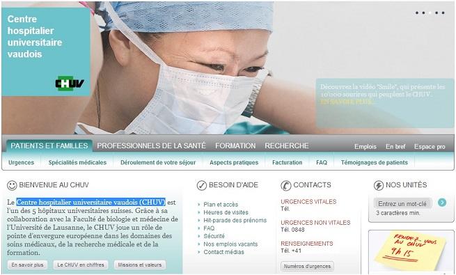 Il sito web del Centre Hospitalier Universitaire Vaudois di Losanna
