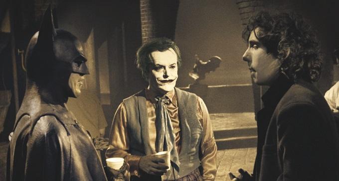 Michael Keaton, Jack Nicholson e Tim Burton in una pausa sul set
