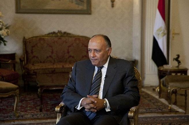 Sameh Shukri, ministro degli Esteri egiziano. Il Cairo è in questi giorni il crocevia dei tentativi di interrompere lo scontro tra Hamas e Israele