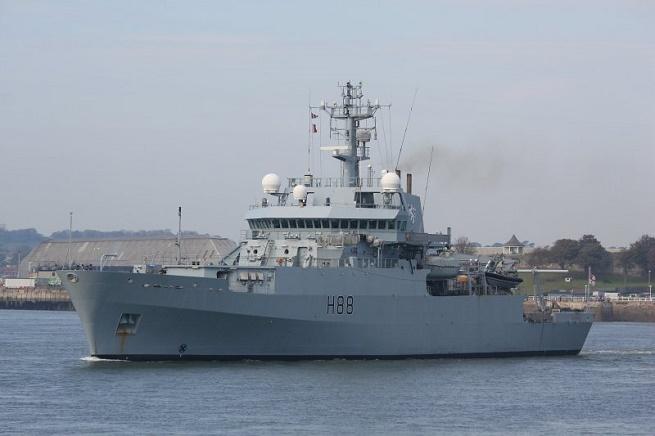 La nave idrografica e oceanografica HMS Enterprise della Royal Navy