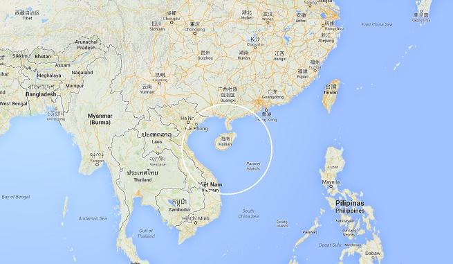 """L'area in cui si è verificato il """"contatto ravvicinato"""" tra il Sukhoi 27 cinese e il P-8 Poseidon da ricognizione della US Navy (immagine da Google Map)"""