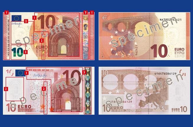 Il nuovo formato delle banconote da 10 Euro (in alto) confrontato con il vecchio