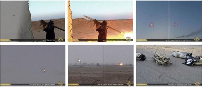Nella sequenza, l'uso di un sistema antimissile brandeggiabile FN-6 cinese, usato per abbattere un Mi-35 di BAghdad vicino Bayji il 3 Ottobre scorso (Fonte: Jane's, Isil)
