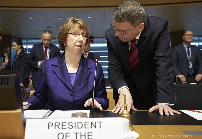 Catherine Ashton, Alto Rappresentante per la politica estera e di sicurezza comune dell'UE. Le subentrerà Federica Mogherini, attuale ministra degli Esteri italiana