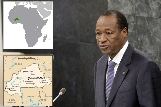 Blaise Compaoré,  presidente del Burkina Faso (ex Repubblica dell'Alto Volta), deposto ieri da un colpo di Stato provocato dalle violente proteste popolari (foto Adnkronos/Infophoto, credit Cia Map)