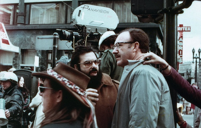 """Coppola e Gene Hackman sul set de """"La conversazione"""""""