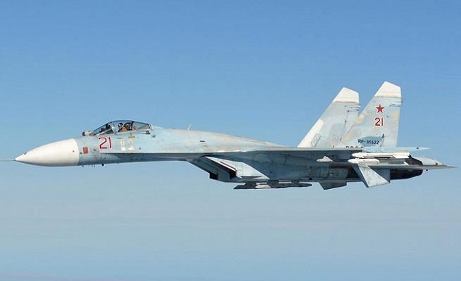 """Un Sukhoi 27 """"Flanker"""" (nella classificazione NATO), caccia-bombardiere russo probabilmente coinvolto nell'incidente sfiorato ieri"""