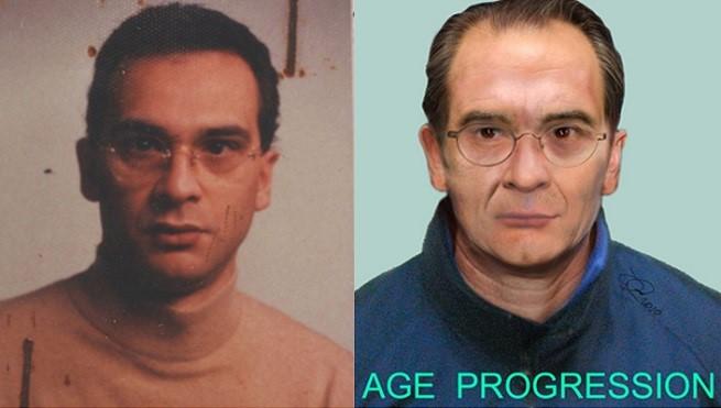 """Matteo Messina Denaro (49) in una foto da giovane e in una ricostruzione """"attualizzata"""" della Polizia Scientifica"""