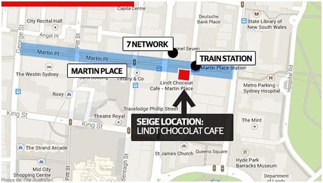 """La zona dell'assedio, tra Martin Place, la sede di 7 Network, la stazione ferroviaria e il Theatre Royal (mappa da """"The Australian"""""""