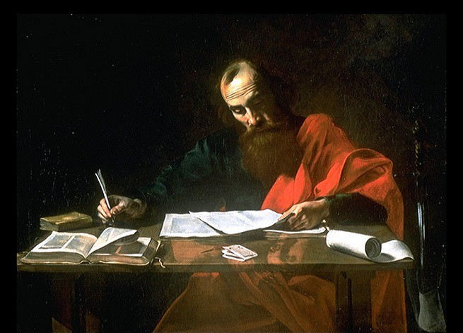 """Valentin de Boulogne, """"San Paolo scrive le epistole"""" (1620)"""