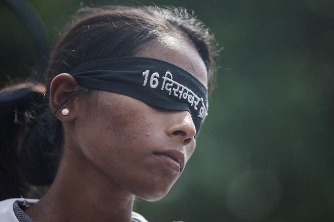 Un momento della protesta (Foto Adnkronos/Xinhua