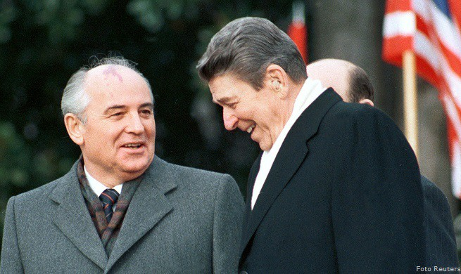 FILE PHOTO OF FORMER US PRESIDENT REAGAN WITH MIKHAIL GORBACHEV.