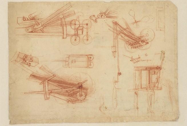 F. 1100 r Schizzi di catapulte (SB) Penna e inchiostro su carta Mm 190 – 252 x 113 – 226 Antica numerazione 74 C.A. f. 1100 r (ex 396 r-a) Circa 1490