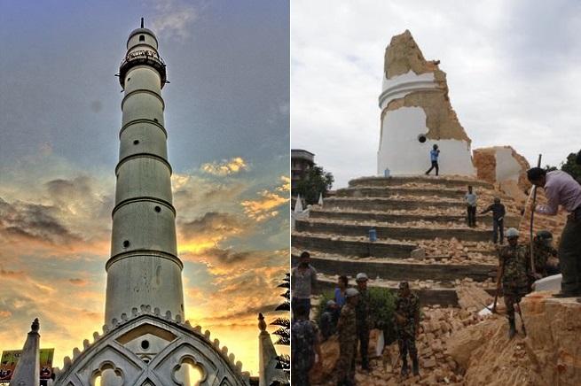 La Torre di Dharahara del 1832, dichiarata patrimonio dell'Umanità dall'Unesco, prima e dopo il terremoto