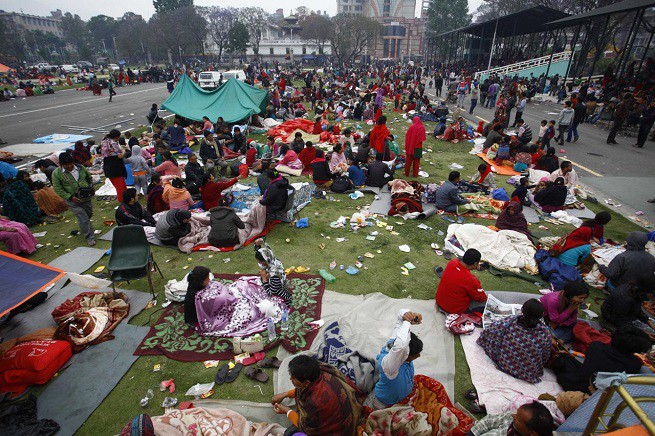 Il 'day after' del devatante terremoto in Nepal (Credit photo: Adnkronos/Xinhua)