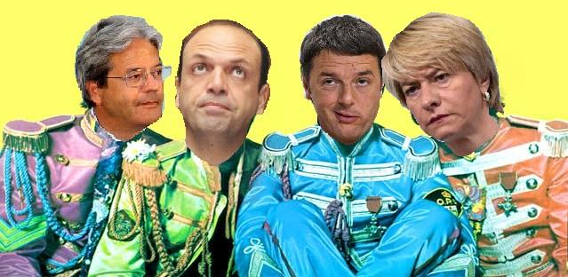 """Da sinistra, Paolo Gentiloni, Angelino Alfano, Matteo Renzi e Roberta Pinotti, il """"Quartetto Nebbia"""" per la sicurezza nazionale italiana"""