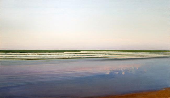 Piero Guccione, Riflessi sulla spiaggia, 2006, olio su tela, 38x66 cm