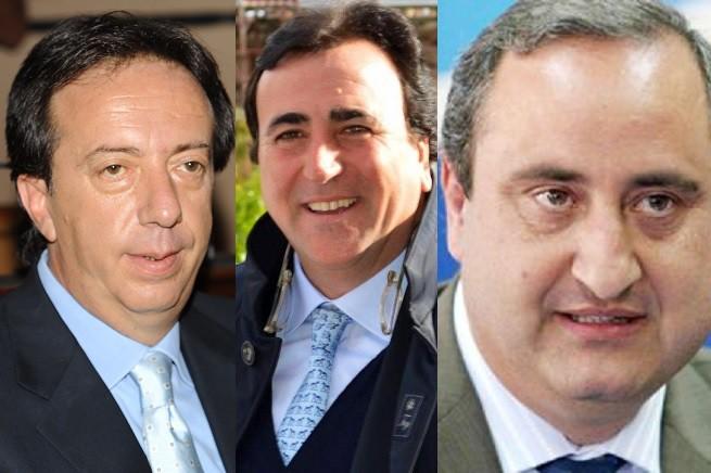 Da sinistra, Roberto Clemente (Pid), Nino Dina (Udc) e l'ex parlamentare all'Ars Franco Mineo (Grande Sud)