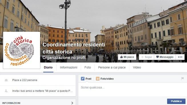 La pagina Facebook del 'Coordinamento residenti città storica'