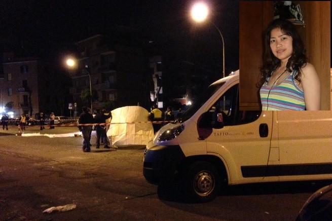 Il luogo dell'incidente in cui perse la vita Corazon Abordo, 44 anni (nel riquadro), filippina di nascita (foto Adnkronos/Web)