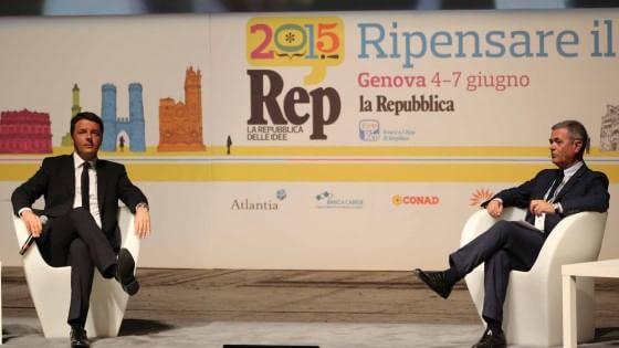 Matteo Renzi con il direttore de 'la Repubblica' (foto da 'la Repubblica')