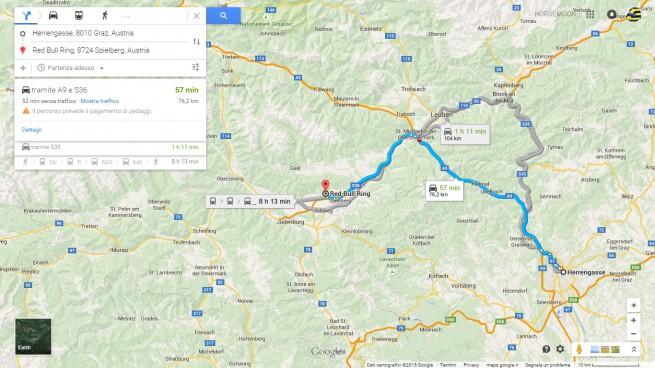 Graz è a pochi chilometri dal Red Bull Ring, sede del GP di Formula 1 d'Austria (immagine tratta da Google Map: per ingrandire cliccarvi sopra)