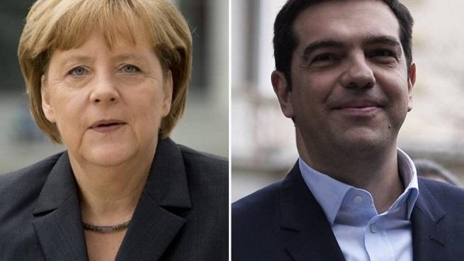 Angela Merkel e Alexis Tsipras, protagonisti di un duelle che ha già cambiato lo scenario europeo (foto Afp via AGI)
