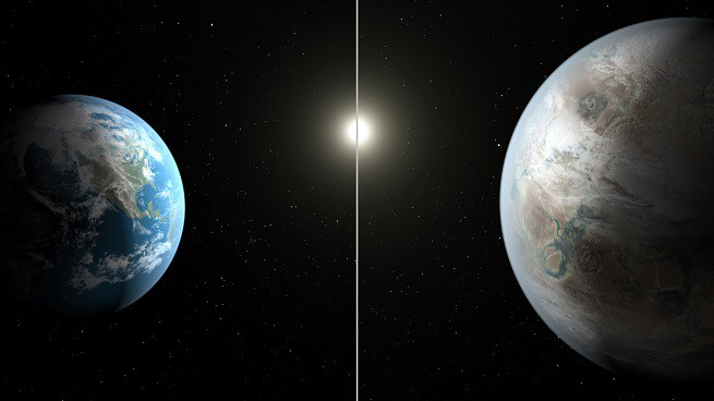 Una rappresentazione artistica che compara le dimensioni della Terra (a sinistra) con quelle del nuovo pianeta extrasolare, chiamato Kepler-452b, che ha un diametro del 60% più grande del nostro pianeta (Credits: NASA/JPL-Caltech/T. Pyle)