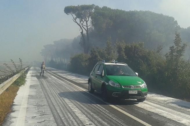 Un pattuglia del Corpo Forestale dello Stato in azione sul luogo dell'incendio (foto AGI)