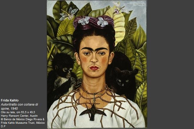 Frida Kahlo Autoritratto con collana di spine, 1940 Olio su tela, cm 63,5 x 49,5 Harry Ransom Center, Austin © Banco de México Diego Rivera & Frida Kahlo Museums Trust, México D.F